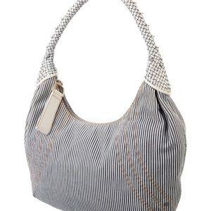 Fendi Denim Striped Denim and Leather Spy Bag